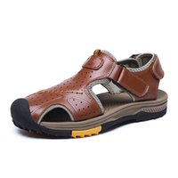 мужская мода кожаные тапочки оптовых-Summer Men's Sandals Genuine Leather Comfortable Casual Men Shoes Slip-on Fashion Male Slippers Classic Beach Shoes Sandalias 46