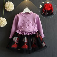 Wholesale chinese outfits children for sale - Group buy Baby girls boutiques clothes knitting sweater tops match mesh skirts children dresses kids design outfits new