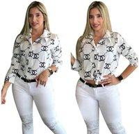 ingrosso magliette maniche pipistrello-Camicetta delle donne sexy di modo lettera Stampa semplice pulsante Giù colletto a maniche lunghe allentato T-shirt Tops Abbigliamento 907