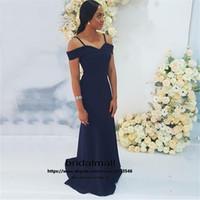 Wholesale gray prom gown for sale - Group buy robes de soirée Navy Blue Satin Mermaid Evening Dresses Sweep Train Long Formal Dress Cheap Prom Gowns Party Custom vestido de fiesta