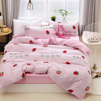 Wholesale japanese bedding for sale - Group buy Strawberry Bedding Set Japanese Sweet Lovely High End Duvet Cover For Girls King Queen Twin Full Single Soft Bed Cover with Pillowcase