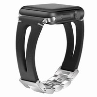 accesorios de reloj de manzana al por mayor-Comercio al por mayor Correa de reloj de cuero negro Correas de reloj para Apple Watch 3 2 1Series 42mm 38mm Replacment for iwatch Accessories