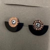 yelpaze biçimli küpeler toptan satış-2019 En Kaliteli fan-şekilli Tasarımcı marka gül Altın siyah elmas saplama kulak Moda Titanyum Çelik yaz Küpe Kadınlar kızlar Için toptan