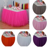 Wholesale custom birthday supplies resale online - 100cm X cm Tulle Tutu Table Skirt Custom Wonderland Tulle Table Skirting Wedding Birthday Baby Shower Party Decoration