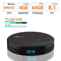 Wholesale android pc smart tv box for sale - HK1 Plus Android Smart TV Box LPDDR4 G G Round Mini PC with LED Display Amlogic S905X2 Quad Core Dual Band Wifi Bluetooth Media Player