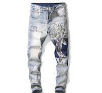 modisch gestickte jeans großhandel-Fashion Mens Carp Patch Gestickte Vintage Skinny Jeans Washed Wave Fisch Abzeichen Jeans Schlank Stretch Denim Hose Nizza