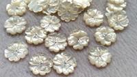 flor de perla de espalda plana al por mayor-20mm perlas de concha de perla natural Concha de perla tallada Flores pétalos camas con espalda plana 6pcs