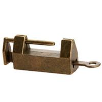 ingrosso antichi di ottone chiave-vecchio 1Pc Vintage antico ferro cinese vecchio retrò ottone lucchetto gioielli scatola di legno lucchetto serratura per valigia cassetto armadietto + chiave