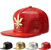 colocação de ligas venda por atacado-Moda Set Alloy Broca Baseball Cap Maple Leaf Forma Fácil Collocation planas chapéus do partido Street Dance Hip Hop Hat 4 cores