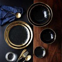 pirinç sofra takımı toptan satış-Seramik Tabak Bulaşık Seti Siyah bulaşığı Seti Porselen Servis Tabak Mutfak Aletleri Mutfak Supplie Rice Çorba Kase Yemek takımı