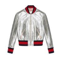 lederhautmantel großhandel-Neue Jacke Frauen Baseball Jacke Mode Top Qualität Patch Farbe Leder Frühling und Herbst Haut Mantel für Frauen Mäntel