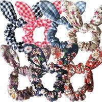 bandeaux de lapin de pâques achat en gros de-Fleur Lapin Oreille Hairband Lapin Anneau De Cheveux Scrunchy Enfants Tête Wrap Bandeaux Titulaire De Queue De Titulaire Femmes Fille Pâques Cheveux Accessoires 25 Couleurs