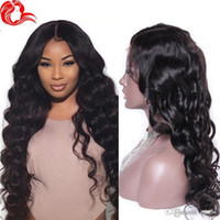 Wholesale burmese silk top wig resale online - Brazilian Body Wave Silk Base Wig For Black Women Virgin Glueless Silk Top Full Lace Wigs Human Hair Pre Plucked Bleached Knots