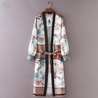 frauen gürtel strickjacke großhandel-Bandage Womens Print Kimono Cardigan Top-Vertuschung Bluse Bademode Drop Gürtel Aug29 # Tropfen-Verschiffen gute Qualität
