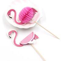 ingrosso arredamento piscina-Float Flamingo Animal Cup Holder Sottobicchieri Hawaiian Beach party cake flag Piscina Flamingo Party Decor Supplies 10 pezzi / pacco