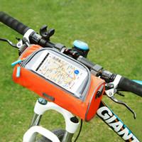 quadros oxford venda por atacado-À prova d 'água Ciclismo Esporte Acessórios Da Bicicleta Da Bicicleta Quadro Pannier Frente Tubo Saco Oxford Saco De Correia De Pano Saco De Equitação ZZA720