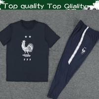 siyah pantolon takımları toptan satış-En Kaliteli Fransa Futbol Tees Pantolon Ile Yeni 2019 Fransız Spor Futbol Erkekler Için Siyah Tişört Mavi Pantolon Suits S-3XL