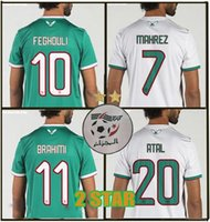 futbol xl toptan satış-2019 2 yıldızlı Cezayir SOCCER JERSEYS AFCON MAHREZ BRAHIMI BOUNEDJAH BOUAZZA 19 20 algerie JERSEY FUTBOL GÖMLEK
