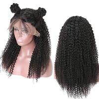 bakire saç kıvırcık kıvırcık ön toptan satış-Afro Kinky Kıvırcık İnsan Saç Dantel Ön Peruk Bebek Saç ile önceden koparıp Tutkalsız Bakire Brezilyalı İnsan Saç Dantel Frontal Peruk Doğal Saç Çizgisi