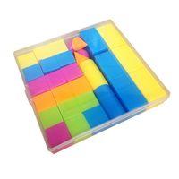 juguetes de matemáticas al por mayor-aprendizaje juguete suzakoo Herramientas de ayuda a la enseñanza alumnos rectangular cubo geometría conjunto matemáticas color forma rompecabezas inteligencia juguete