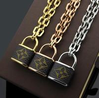Wholesale lock chains necklaces resale online - New fashion titanium steel V letter lock old flower skin thick necklace Women s lock long paragraph pendant necklace