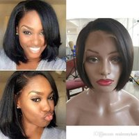 Wholesale best glueless lace front wigs resale online - Peruvian Lace Front Human Hair Wigs New Arrival Cheap Pixie Cut Short Glueless Wig with Bangs for African Best Peruvian Straight Hair Wigs