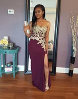 Wholesale custom plus size prom dresses for sale - 2019 African black girl mermaid Prom Dresses with gold lace appliques sexy high split Evening Wear custom made K19 cheap Graduation Gowns