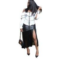 siyah düzensiz etek toptan satış-Geri Fermuar Seksi Düzensiz Etekler 2019 Yüksek Sokak Püskül Eklenmiş Midi Etekler Kadın Bahar Siyah PU Parti Ince Etekler