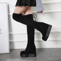 Wholesale knee high boots stockings for sale - Group buy New Boot Thin Leg Thick Bottom Increased Knee high Boots Fashion New Winter Stock Female Warm Heel High Ladies Shoe
