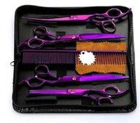 kit de peine profesional al por mayor-Venta caliente 4 Unids / set Profesional Salon Peluquería Tijeras Tijeras de peluquería Kit de herramientas de corte de pelo con el peine para la peluquería para mascotas Peinado 7.0