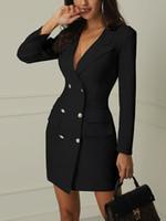 длинные формальные белые платья оптовых-2019 новые женские пальто формальные тонкий двубортный длинный плащ пиджаки платье плащ черный белый пальто