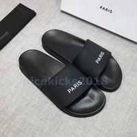 baskı ayakkabıları toptan satış-Paris Lüks Tasarımcı Mens Womens Yaz Sandalet Plaj Slayt Lüks Terlik Bayanlar Rahat Ayakkabılar Baskı Deri Düz renk 36-46 Ile kutu