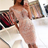 Wholesale lace cocktail dress online - Pink Red Lace Crystal Short Cocktail Prom Dresses with Sleeves Fashion Crew Backless Knee length Homecoming Party Gowns Cheap