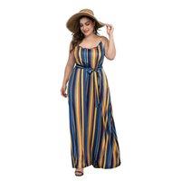 uzun yaz şeritli elbise toptan satış-Yaz Yeni Spagetti Kayışı Maxi Elbise Kadınlar Çizgili Baskı Bohemian Plaj Uzun Elbise Sashes Seksi Kulübü Parti Elbiseler Artı Boyutu
