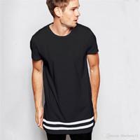 chemise blanche étendue achat en gros de-T-shirt des hommes de mode T-shirt Vêtements pour homme étendu ourlet arrondi ligne longues Hauts T-shirts Hip-hop urbain vierges Chemises blanches S-2XL