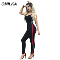 tanzbekleidung fitness großhandel-OMILKA Seite gestreiften Overall Sommer Frauen 2019 Yogawear Dancewear Fitness Strap Fitness Club Bodycon Strampler und Jumpsuits