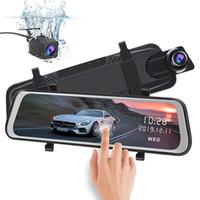 ledli dikiz aynaları toptan satış-10 inç HD 1080 P Araba DVR 32 GB Dikiz Aynası Video Kaydedici, çift Lens Ters Yedekleme Kamera, 10 M Kablo Ile kamyon Dash Kameralar