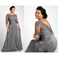 Plus Size Gray Mother Of The Bride Dresses With 3 4 Sleeves Scoop Neck Lace Elastic Satin Women Formal Gowns SD3431