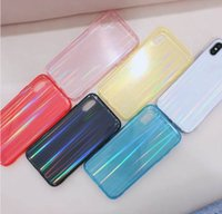 Wholesale hard line phone for sale – best Fashion Aurora Color Hard PC Soft TPU Case For Iphone XS MAX XR X Luxury Bling Shinny Clear Transparent Line Gel Colorful Phone Cover