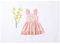 Wholesale kids summer clothing girl 11 online - INS Girl Kids Clothing Summer Girl Pink Plaid and Yellow Flowers Design Sleeveless Dress high quality cotton baby Princess dress