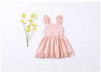 niña de las flores princesa amarilla vestidos al por mayor-INS Girl Kids Ropa Summer Girl Pink Plaid y diseño de flores amarillas vestido sin mangas de alta calidad 100% algodón bebé vestido de princesa
