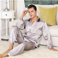 büyük pijama toptan satış-2019 Sıcak Satış Erkek Ipek Saten Pijama Set Lüks Uzun Kollu Gecelikler Suit Baskı pijama Ev Hizmet Mens Giyim Büyük Boy