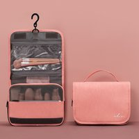 Wholesale pink hanging travel toiletry organizer for sale - Group buy High end PU Hanging Makeup Bag Cosmetic Travel Organizer Bag Beautician Women Makeup Wash Pouch Waterproof Hook Up Toiletry bags