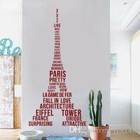 ingrosso autoadesivo della torre eiffel di parigi-Adesivi murali fai-da-te grandi Torre Eiffel Vinili adesivi murali creativi per Parigi Love Vivid France Adesivi murali per arredamento soggiorno