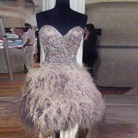 Wholesale little girls beaded dresses online - Sexy Sweetheart Short Feather Prom Dresses Crystal Beaded Zipper Back Formal Evening Gowns Hot Girls Party Dresses Homecoming Dress