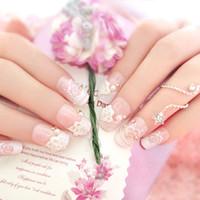 поддельные свадебные ногти оптовых-24 Pcs/Set Full Nails Tips With Glue 3D Flowers  Wedding Bride Fake Fingernails Nail Art Decorate Tool BV789