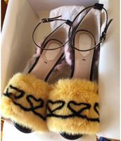 boa qualidade saltos venda por atacado-Nova boa qualidade de alta-sapatos de salto alto mulheres multa com água de vison cabelo passarela Sexy sapatos mulheres sandálias de pele partido