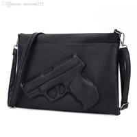 3d saca a arma venda por atacado-Atacado-3D Print Gun Bag mulheres saco designer bolsa de embreagem famosa marca mulheres messenger bags para senhoras Crossbody Bag Envelope Bolsas
