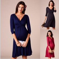 Wholesale evening dress black ruffle for sale - Group buy Maternity Dresses Ruffled Deep V collar Fashion Party Evening Dress Maternal Suckling Dress Breastfeeding dress for pregnant women