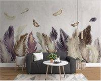 papel pintado decorativo moderno al por mayor-3D wallpaper de la habitación personalizado foto mural Moderno minimalista fondo de plumas de oro pared pintura decorativa papel tapiz para paredes 3 d